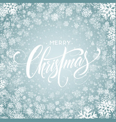 Merry christmas hand drawn lettering in snowflakes vector