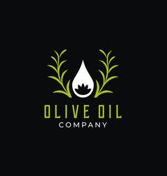 olive oil and flower logo design vector image