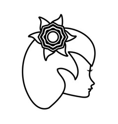 outline head woman flower romance vector image