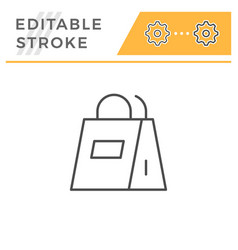 paper bag editable stroke line icon vector image