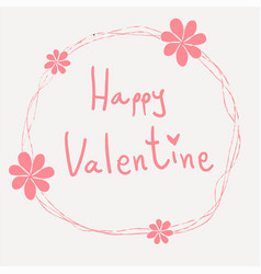 Pink happy valentine word hand writing in vector