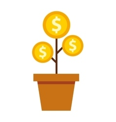 plant with coins money vector image
