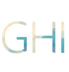 Polygonal isolated light gradient letters vector image
