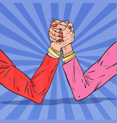 Pop art female hands armwrestling woman rivalry vector