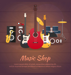 poster with musical instruments music shop vector image