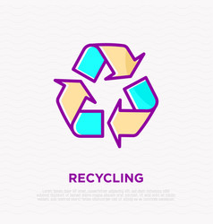 recycle sign three arrows in circle vector image