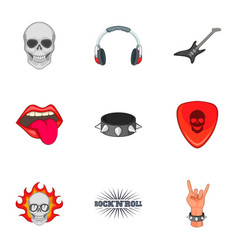 Rock n roll sticker icons set cartoon style vector
