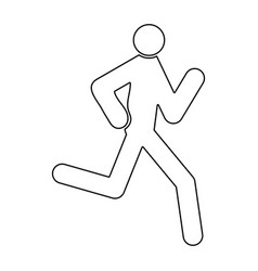 running man - stick icon vector image