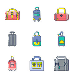 sack icons set cartoon style vector image