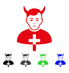 Sad satan priest icon vector