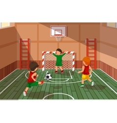 School soccer game kids playing soccer vector