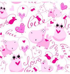 seamless festive pattern pink hippos and cats vector image