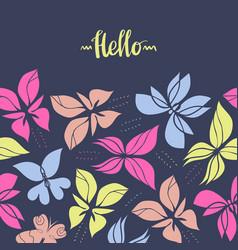 seamless hand drawn butterflies frame-05 vector image