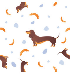 seamless pattern with dogs and sausage vector image