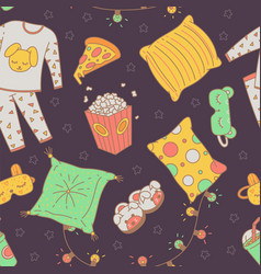 Seamless pattern with sleepover pajama party items vector