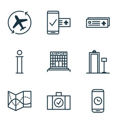Set of 9 traveling icons includes airport card vector