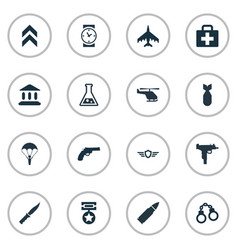 set of simple army icons vector image