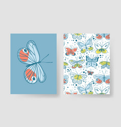 Set of templates for summer cards hand drawn vector