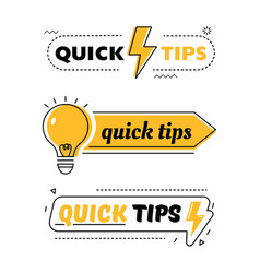 Set quick tips helpful tricks tooltip hint vector