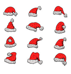 set santa claus hats christmas theme design vector image