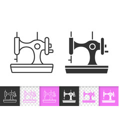 sewing machine simple black line icon vector image