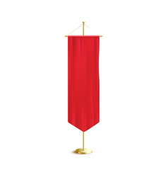 Silk red banner hanging on long golden pole vector