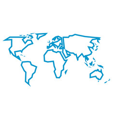 simplified blue thick outline of world map divided vector image