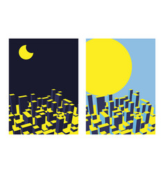 skyline city night and day set abstract town vector image