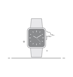 Smart watch Analog clock with a second hand and a vector