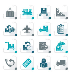 stylized cargo shipping and delivery icons vector image