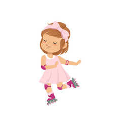 Sweet little girl in pink dress skating on vector