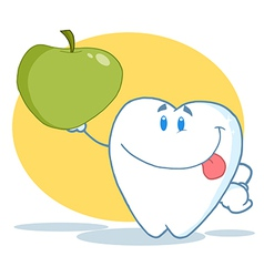 Tooth Character Holding Up A Green Apple vector image