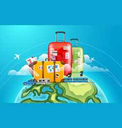 travel baggage on the earth world adventure vector image