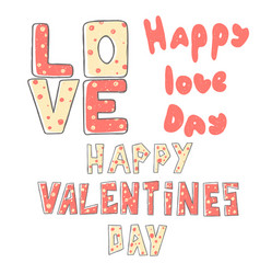 valentine s day lettering set stylized large vector image