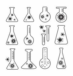 Virus vaccine research flask icons set vector