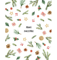 Watercolor christmas card with fir branches vector