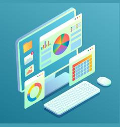 Web analytics concept desktop computer vector