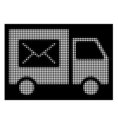 white halftone mail delivery van icon vector image