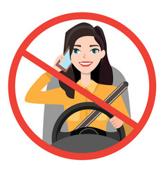 Woman driving a car talking on the phone sign vector