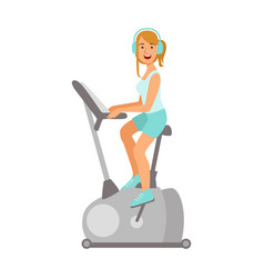 woman working out on exercise bike colorful vector image