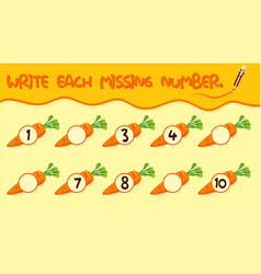 Write math number worksheet vector