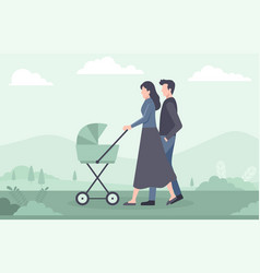 Young family with baby walking in park outdoor vector