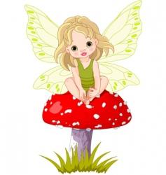 Baby fairy on the mushroom vector