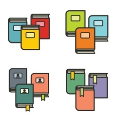 Book icons in line flat style vector image
