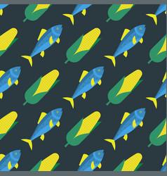 funny fish seamless pattern sea food marine life vector image