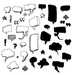 Hand-drawn talk bubble doodles vector image