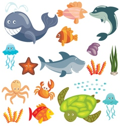 Marine animals set vector image