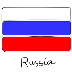Russia flag doodle vector image vector image
