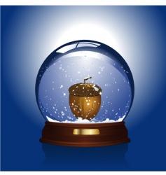 snow globe with acorn vector image