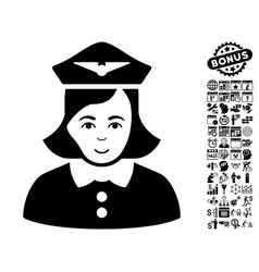 Airline Stewardess Flat Icon With Bonus vector image